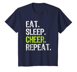magliette felpate Sconti Eat Sleep Cheer Repeat Cheerleading Loose Black Men Maglietta Homme Tees Shirt