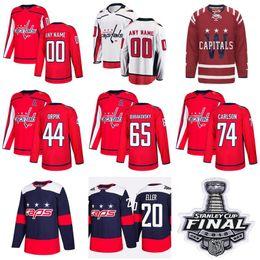 Wholesale capital names - Man Woman Youth Washington Capitals Hockey 20 Lars Eller Jersey 74 John Carlson 44 Brooks Orpik Dmitry Orlov Custom Any Name Red White Blue