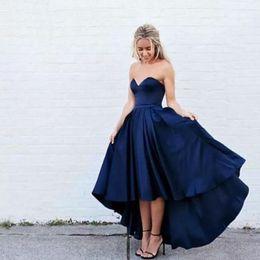 Yüksek Düşük Saten Gelinlik Modelleri Kısa Ön Uzun Geri Lacivert Akşam Parti Elbiseler Örgün Törenlerinde Sevgiliye Ucuz Gelinlik Modelleri nereden kadın sahne elbiseleri tedarikçiler