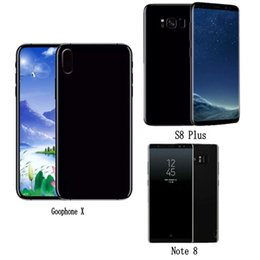 Wholesale Goophone Dual Sim - Goophone X i8 S8 plus Note 8 Real Touch ID android Quad Core Smartphone show Octa Core 4GB RAM 64GB ROM 4G LTE Unlock Cell Phones Sealed box