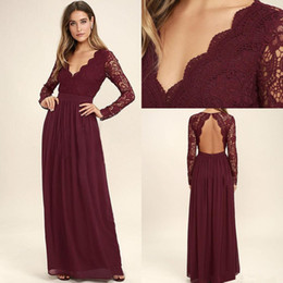 Wholesale maid honour - Bridesmaid Dresses 2018 Maroon Chiffon Beach with Long Sleeve Junior Honour Of Maid Dress Wedding Party Guest Gown Custom Made Cheap