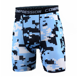 Wholesale Spot Tights - New Running Sport Mens Basketball Tight Compression Shorts Gym Fitness Clothing Training Wicking (Sky blue and black White spots