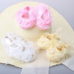 Wholesale Tie Up Barefoot Sandals - Toddler baby sandals chiffon flower shoes cover barefoot foot flower ties infant children girl kids first walker shoes Photography props