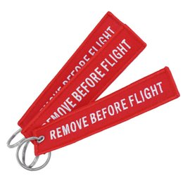Wholesale luggage kids - Keychain REMOVE BEFORE FLIGHT Embroidered Canvas Color Optional Woven Keyring Luggage Tag Label Key chain Aviation Gift For Adults Kids