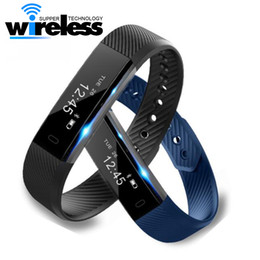 Wholesale Monitor Alarms - ID115 Smart Bracelet Fitness Tracker Step Counter Activity Monitor Band Alarm Clock Vibration Wristband for iphone With dayday APP