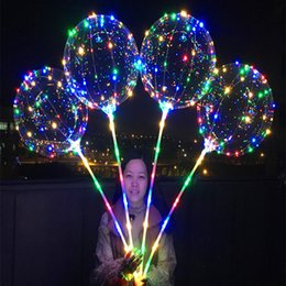 Wholesale balloons for halloween - 300pcs Bobo Ball LED Line With Stick Wave Ball 3M String Balloon Light Up For Christmas Halloween Wedding Birthday Home Party Decoration
