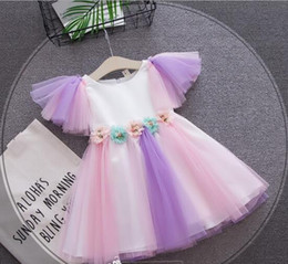 Wholesale Full Halloween - 2018 NEW Rainbow dress Hot selling summer princess fairy dress baby kids sleeveless stereo flower mesh lace patchowrk girl Dresses 16 colors