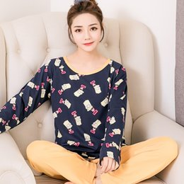 Wholesale Young Girls Clothing - Young Girl Sleepwear Sets Leisure Clothes 2017 Autumn Winter Thin Long Sleeved Women Pajamas Carton Pyjamas Lovely home clothing