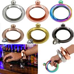 Alcool d'argento online-Flacone con cinturino per bracciale con imbuto da 3,5 once in acciaio inox arcobaleno liquido alcol whisky bicchieri oro argento 6 colori HH7-68