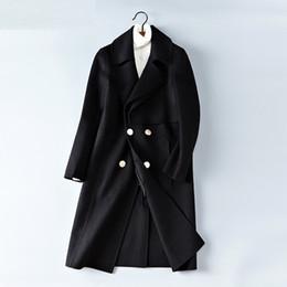 Nuevo 2018 de doble cara de los hombres de la cachemira de la chaqueta formal Negro ovejas de lana abrigos de lujo de los hombres chaquetas largas de