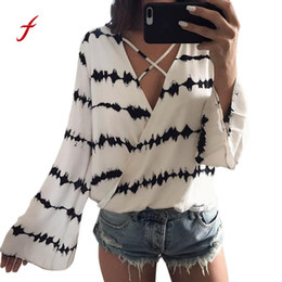 Wholesale Strip Blouse - Feitong Long Sleeve Deep V Neck Tops 2018 Summer Women Loose Blouse Long Sleeve Strip Printed Tops Chiffon Casual Blouse