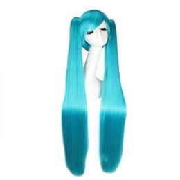 Wholesale Blue Tail Cosplay - Z&F Hatsune Miku Blue Color cosplay Wig 120CM Blue Colors Bunches Twin Tail Lolita Unisex Costume Home Party
