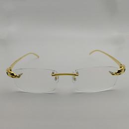 китайские игровые компьютеры Скидка Men Titanium Alloy Leopard Glasses Frames Rimless Square Eyeglasses  Clear Lens Optical Gold Frame Eyewear for Reading