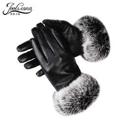 настоящие кожаные перчатки Скидка JOOLSCANA winter women leather gloves real rabbit fur wrist touch screen glove2018 new  genuine sheepskin mitten warm