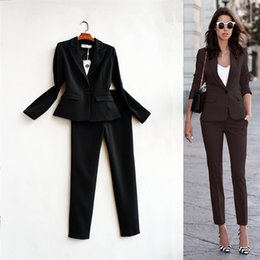 Wholesale Button Codes - New 2017 fashion women's suits leisure high-qualityOL office business Set Big code two piece set trousers + suit jacket B067