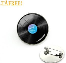 Wholesale Wedding Souvenirs Wholesale China - TAFREE Vinyl disc Brooches Music Brooches men Brooch Pin Buckle Women College souvenir clothing accessories exquisite gift KC150