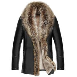 M-5XL 2017 Зима новые мужчины кожаная куртка ягненка натуральная кожа пальто сгущает меховой воротник Jaqueta Masculino плюс размер одежды от Поставщики знак из натуральной кожи