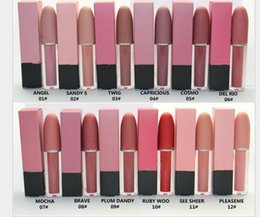 Wholesale red highlighter - Highlighter MA Makeup 12 Colors Melted Matte Liquid Lip Gloss Lipstick Long Lasting Lipgloss maquiagem Brand Make Up Kit