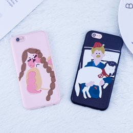 Wholesale Iphone Case Characters - Cartoon Character dog Matte For iphone 6 case Art painting Boy case For iphone X 7 6s 8 Plus Case TPU Back Cover