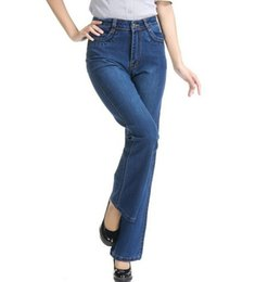Wholesale Plus Size High Waisted Pants - Summer elastic plus size bell bottom jeans female trousers women's high waisted pants