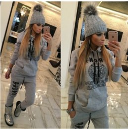 Wholesale Ladies Sweatshirt New - 2016 New Ladies Tracksuits Hoodies Sweatshirt + Long Pants Sportwear Costumes Women Sweat Suit Pants 2 Piece Set Jogging Suit