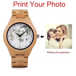 Wholesale Gold Weide - Personality Creative Design Customers Photos UV Printing Customize Wooden Watch Customization Laser Print OEM