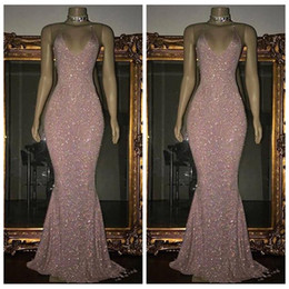 Wholesale Halter Mermaid Dress Bling - Bling Bling Full Sequined Slim Pink Mermaid 2K18 Prom Dresses Sexy Halter Customized Sleeveless Vestidos De Special Occasion Party Gowns
