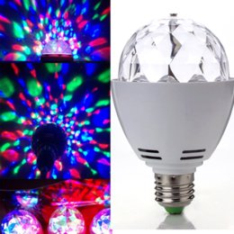 Wholesale Led Disco Ball Light E27 - Wholesale- RGB Crystal Ball E27 LED Rotating Stage Lighting Disco DJ Club Party Brand New
