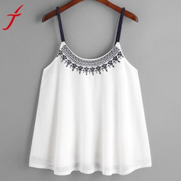 Wholesale Embroidered Sleeveless Shirt Woman - Summer girl Women Tank Tops Flower Embroidered Chiffon blended t-shirts Strappy Cami Top Casual Sleeveless women crop tops