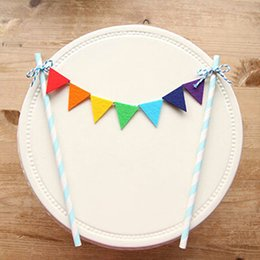 Wholesale Rainbow Birthday Cakes - Free Shipping Rainbow Flags And banners Cupcake toppers Birthday Cake Topper Kids Birthday Party Supplies Baby Shower Girl