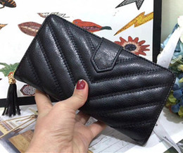 Wholesale quilted black purse - Luxury V quilted flap long wallet Fashion high quality Designer wallets purse original box purse women classic zipper pocket
