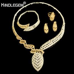 дубай кольцо Скидка Kindlegem 2018 Hot  Sparkling Full Rhinestone Zircon Necklace Earrings Bracelet Ring For Women Dubai African Jewelry Set