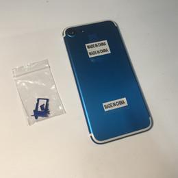 2019 couvercles de boutons pour iphone Pour iPhone 7 7G 4,7 pouces, métal bleu foncé, remplacez le cache de la porte du logement de la batterie par un support de carte SIM + bouton de volume / d'alimentation couvercles de boutons pour iphone pas cher
