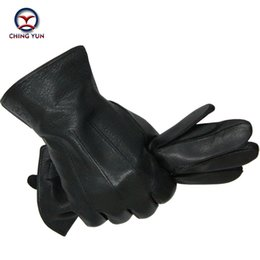 leather hair gloves Promo Codes - 2016 New Winter man deer skin leather gloves male warm soft men's glove black three lines design men mittens sheep hair lining