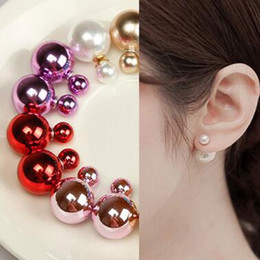 Wholesale 8mm Pearl Earring Woman - 8MM 16MM Double Side Imitated Pearl Earrings Shining Bohemian Round 925 silver plated Stud Wedding Jewelry for Women girls