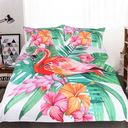 Wholesale Multi Color Floral Bedding - 3D Tropical Plants & Animals Bedding Set Of 3PC Duvet Cover Set Quilt Cove r& Pillowcase Twin Full Queen King Size