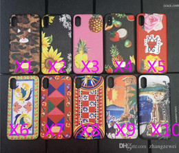 Wholesale Iphone Case Characters - Luxury brand leather texture printed flowers pineapple character landscape phone case for iphone X soft side hard back cover for iphone 10