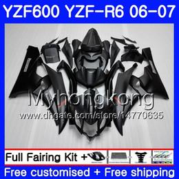 2020 carenado negro mate para r6 Cuerpo + tanque para YAMAHA YZF R 6 YZF 600 YZF-600 YZFR6 06 07 Marco 233HM.0 YZF-R6 06 07 YZF600 YZF R6 2006 2007 Fairings Kit Hot ALL Mate negro carenado negro mate para r6 baratos