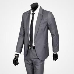 Куртка бизнес-класса онлайн-Мужские костюмы свадебный костюм Slim Fit мужские формальные костюмы устанавливает одну кнопку пальто брюки светло-серый черный красивый мужской Bussiness (куртка + брюки)