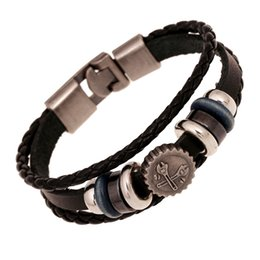 Wholesale Leather Steampunk Bracelets - whole saleER Male Personalized Steampunk Bracelet for Men Genuine Black Leather Punk Bracelet Bangle Funny Gifts Friends LB230