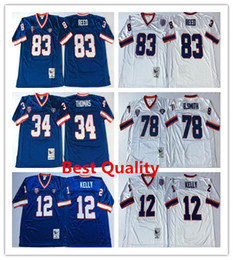 Wholesale Cheap American Football Shirts - NCAA Throwback Thurman Thomas American Shirts College football jerseys mens jim kelly ander reed bruce smith color blue white cheap Wears