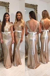 Wholesale Backless Mini Prom Dresses - New Glitter Rose Gold Sequins Bridesmaid Dresses with Belt Cap Sleeves Mermaid Formal Prom Dress Long Bridesmaids Gowns Custom Made