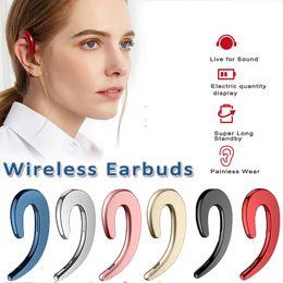 Wholesale ear bone headset - Bone Conduction Bluetooth headphone Mini Ear Hook No Pain Wear Wireless Headset Music Earphones with Mic for iPhone Xiaomi For Samsung
