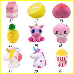 Wholesale Squishies Free Shipping - Squishy toys Strawberry Perfume Cream milk lemon peach Pineapple unicorn jellyfish popcorn Jumbo Decor Slow Rising Squishies Free Shipping