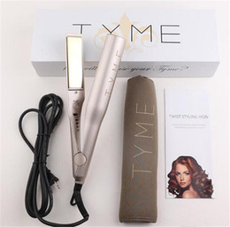 Wholesale Curl Straighten Hair - Electronic Tyme Hair Straightener Flat Iron Brush Ceramic 2 In 1 Hair Straightening Curling Irons Hair Curler with retail box EU US plug