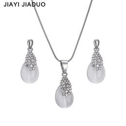 Wholesale Jade Silver Wedding Dresses - jiayijiaduo Fashion Bridal jewelry set Silver Necklace earrings For women elegant gift of Wedding Party dress shipping 2017