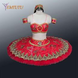 tutu de ballet rojo Rebajas adulto dos piezas rojo profesional Ballet Tutu Glissade tutú clásico rendimiento tutús mujeres Le Corsaire balle etapa vestuario