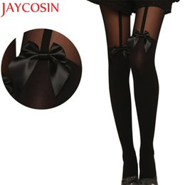 Wholesale Drop Ship Tattoo - JAYCOSIN New Fashion Women Vintage Tights Bow Pantyhose Tattoo Mock Bow Suspender Sheer Stockings Drop Shipping