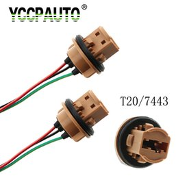 automobile connector Coupons - YCCPAUTO 2pcs T20 7440 7443 LED Bulb Adapter Holder Socket Connector Automobile LED Parking Light lamp Wiring Harness Cable 2pcs