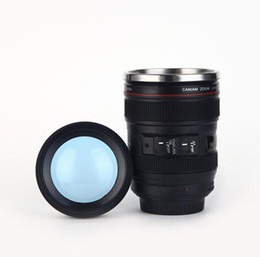 caneca da lente branca Desconto Vendendo 6 Geração de aço inoxidável forro de viagem térmica café câmera lente caneca copo 400 ML Preto branco DHL Livre